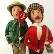 Byers Choice Carolers Golfer Man And Woman 2004 Lady Lot Of 2
