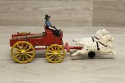 Vintage Cast Iron 2 Horse Drawn Red Lumber Wagon With Driver And Logs T1