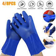 8/4x Rubber Gloves Cleaning Hand Blue Podwer Durable Dishwashing Waterproof Set