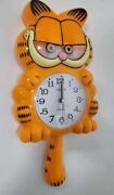Vtg Nos 70s 80and039s Garfield Motion Animated Cat Figure Quarts Wall Clock
