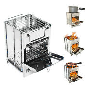 Foldable Portable Camping Grill Stove Wood Burning Bbq Barbecue Grill Durable Us