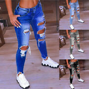 Plus Size Women's Ripped Casual Jeans Ladies Summer Stretch Denim Pants Trousers