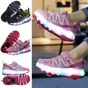 Led Sneakers Wheels Boys Girls Skates Shoes Kids Roller Skate Trainers Size