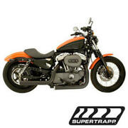 Staggered Mean Mothers Black Exhaust Drag Pipes 137-72202 For 04-13 Harley Xl