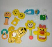 Vintage Lot Of 10 Baby Toys Rattles Playskool The First Years Fisher Price