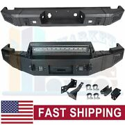 Textured Front + Rear Bumper Guard W/ Led Lights For 07-13 Chevy Silverado 1500