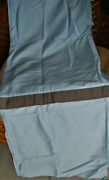 Restoration Hardware Blue Shower Curtain With Brown Pleated Stripe Portugal Nwop