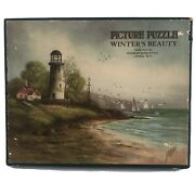 Vintage Madmar Quality Co Wooden Picture Puzzle Winter's Beauty 48 Pieces