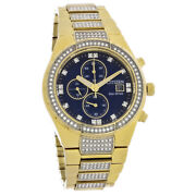 Citizen Eco Drive Mens Crystal Gold Tone Stainless Chronograph Watch Ca0752-58l
