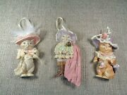 Vintage Lot Victorian Style Cat Ornaments W/ Feathers Pink Clothes And Hat 2 Sided