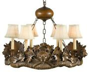 Chandelier 3 Bear Heads Hand-cast Made In Usa Ok Casting Linen Shade 6-l