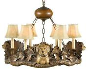 Chandelier Labrador Dogs Yellow Hand Painted 6-light Ok Casting Faux Lea