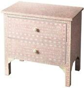 Accent Chest Of Drawers Cream Distressed Heritage Pink Solid Wood Bone 2