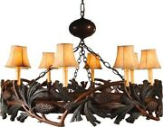 Chandelier Pine Bough Pinecones Hand-painted 8 Lights Ok Casting Rustic
