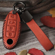 Genuine Leather Car Smart Key Fob Case Cover For Infiniti For Nissan Accessories