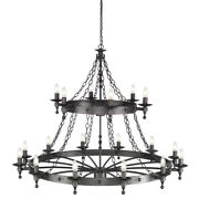 18 Bulb Chandelier-2 Tier-hand Crafted-graphite Finish Black-led E14 60w