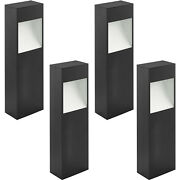 4 Pack Ip44 Outdoor Pedestal Light Anthracite And White Square Post 10w Led