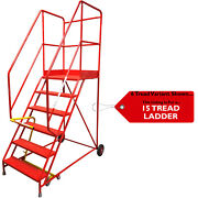 15 Tread Heavy Duty Mobile Warehouse Stairs Punched Steps 4.38m Safety Ladder