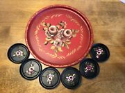 Vtg Hand Painted E.t. Nash Co. N.y. Tole Tray And Coasters Red And Black