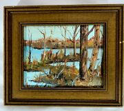 Early Oil Painting Signed By Pat Mathews Known Gallery Artist 4x5