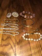 Vintage Antique Jewelry Lot Of 8 Bracelets And 2 Pins