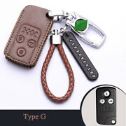 Real Leather Car Key Fob Case Holder Cover For Honda Accord 8 Euro Crosstour Crv