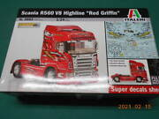 Italelli 1/24 Scania R560 V8 Highline Red Griffon Tractor- Plastic Kit Griffin
