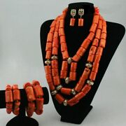 African Women Jewelry Sets Handmade 3 Layers Coral Beads Chunky Bridal Costume