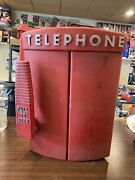 Vintage Retro First Aid Red Yellow Telephone Fire Police Emergency Call Box Rare