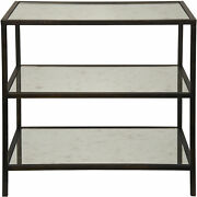 Noir 3 Tier Side Table With Antique Glass And Black Metal Gtab658mtb