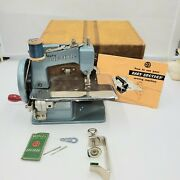 Vintage Blue Metal Baby Brother Child Toy Sewing Machine Orig Case And Clamp 1950