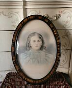 Antique/vintage Oval Frame Convex Glass Bubble Tiger Wood Pattern 16 X 22