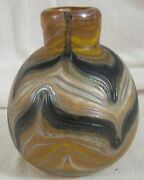 Drew Smith Pulled Feather Glass Vase Signed