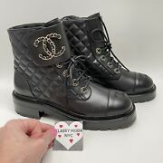 Nib 2021 Combat Boots Black 40 Eur Size Quilted Lace Up