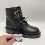 New Black Leather Combat 40 Eur Boots Shoes Brooch Motto Lace Quilt Gold