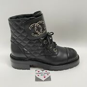 21a Black Quilted Cc Chain Combat Ankle Boots 40 Eur Size Bnwt