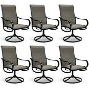 Swivel Patio Dining Chair Set Of 6 Metal Rock Chairs High Back Outdoor Furniture
