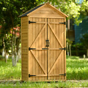 5.8ftx 3ft Outdoor Wood Lean-to Storage Shed Tool Organizer With Waterproof Roof
