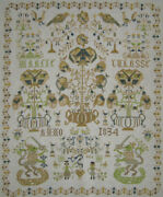 Completed Cross Stitch Sampler Antique 19th C Dutch Style Finished Needlework