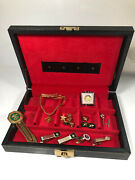 Vintage Bsa Boy Scout Jewelry Box And Contents, Tie Bar Clips, Pins, Book Marker