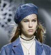 Beautiful Christian Dior Womenandacutes Hat Hunting Denim Beret With Tulle Used 113/mn