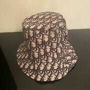Christian Dior Bucket Hat Reversible Navy X Pink Beige Trotter Size 57 755/mn