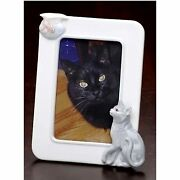 Roman 12 Handcrafted Porcelain Cat And Fish 4x6 Photo Picture Frames
