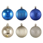 100ct Silver And Blue Shatterproof 3-finish Christmas Ball Ornaments 2.5 60mm