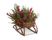Melrose 17 Mixed Pine And Red Berry Wicker Sleigh Christmas Table Top Decor