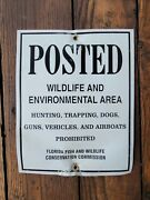 Vtg Old Fl Game Metal Sign Posted Hunting Gun Trapping Dogs Vehicle 🚫prohibited