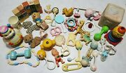 Lot Vintage Antique Baby Toys - Rattles, Rubber Squeaky, Wooden Blocks, Mobile