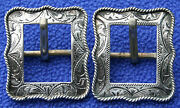 2 Vintage Sterling Silver Rope Edge Western Bridle Headstall Spur Straps Buckles