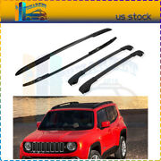 Top Roof Rail Cross Bars For 2015-2018 Jeep Renegade Side Rack Package Blk