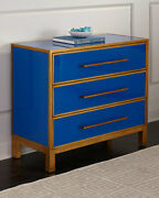 Bassett Mirror Fenwick Hall Cabinet With Royal Blue And Gold Finish 5220-lr-766
